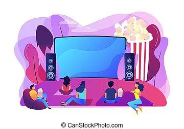 concept, bioscoop, illustratie, lucht, vector, open