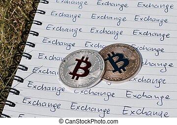 concept, bitcoin, échange