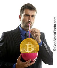 concept, bitcoin, btc, homme affaires, boire, liquidité