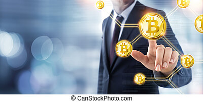 concept, -, bitcoin, cryptocurrency, poussée, homme affaires