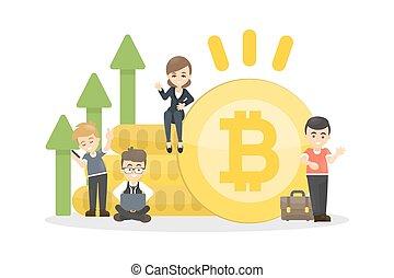 concept, bitcoin, illustration.