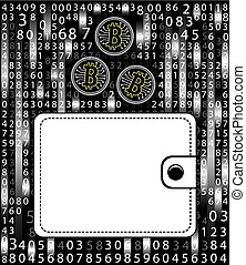 Concept bitcoin in a purse on the background of a digital matrix. The Concept of Modern Earnings and Savings . Eps 10 vector illustration