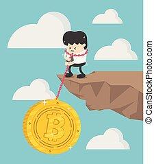 Concept Bitcoin Loss vector illustration Businessman....