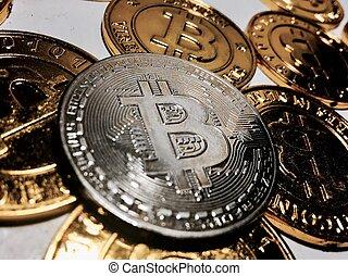 concept, bitcoin, monnaie