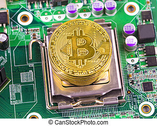 concept, -, bitcoin, pièce or