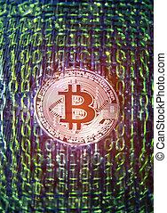 concept, bitcoin, virtuel, crypto, monnaie, fond