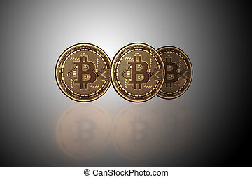 concept, bitcoins, blockchain, -, cryptocurrency, rendre, 3d