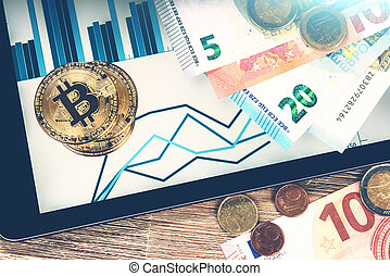 concept, bitcoins, or, charts., sur, tablette, crypto, virtuel, billets banque, monnaie, finances, euro