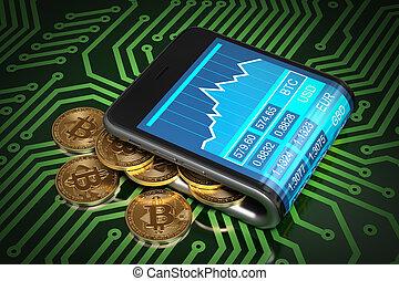 concept, bitcoins, or, portefeuille, vert, circuit imprimé,...