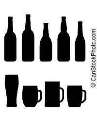 black beer bottle and mug set