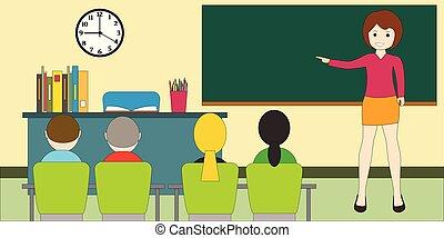 concept., blackboard., oświatowy, nauczyciel, children., klasa, kobieta
