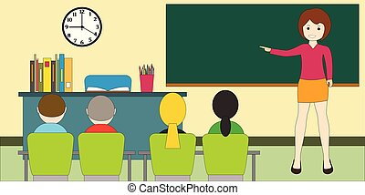 concept., blackboard., onderwijs, leraar, children., ...