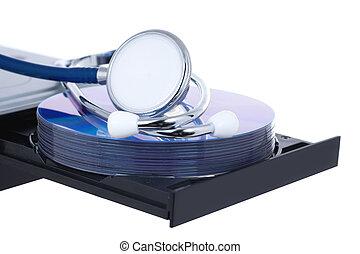 concept, blad, medisch, stethoscope, dvd, open
