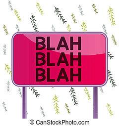 concept, blah., tekst, klesten, het spreken, roddels, plank...