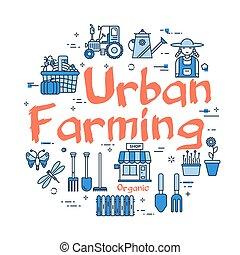 concept, blauwe , stedelijke , landbouw, spandoek, lineair, ...