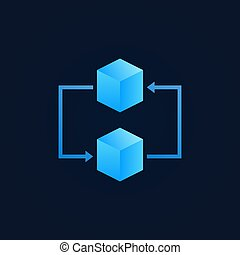 Concept blockchain icon - vector two blue cubes sign