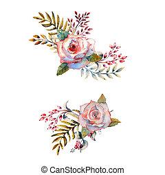 concept, bloem, poster, invitation., schikkingen, boeketten, design., roze bloem, roos, flowers., 2, set, rood, watercolor, trouwfeest, floral, kaart, branches., groet, bladeren, groene, uitnodiging, of
