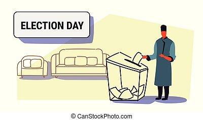 concept, boîte, croquis, électeur, entiers, griffonnage, vote, vêtements, liste, jour, traditionnel, longueur, papier, mettre, élection, pendant, horizontal, mâle, vote, caucasien, homme