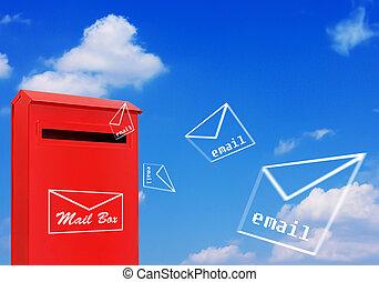 concept, boîte lettres, rouges, email