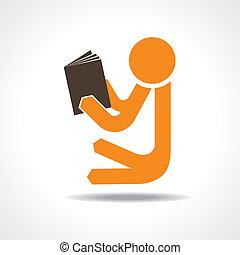 concept, boek, lezende