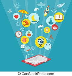 concept, boek, lezer