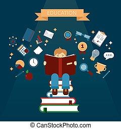concept, boekjes , lezende , opleiding