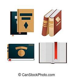 concept., boekjes , set, kennis, iconen