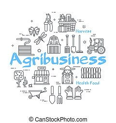 concept, -, boerderij, blauwe , landbouwindustrie, spandoek...