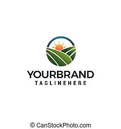 concept, boerderij, zon, akker, vector, ontwerp, mal, logo, logo