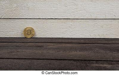 concept, bois, argent, currency., bitcoin, virtuel, crypto, arrière-plan.