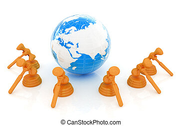 concept, bois, global, isolé, arrière-plan., marteau, la terre, blanc, enchère