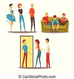 concept, bon, conversation, gens, amis, ensemble, illustration, vecteur, maison, temps, venir, avoir, mieux