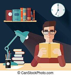 concept, books., boek, thuis, lezende , man