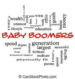concept, boomers, casquettes, nuage, bébé, mot, rouges