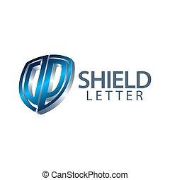 concept, bouclier, symbole, initiale, trois, élément, dimensionnel, graphique, gabarit, lettre, logo, design., style., dp, 3d