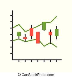 concept, bougeoir, diagramme, rapport, stockage, données, ou, marché, icône