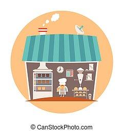 concept, boulangerie, vecteur, bakeshop, ou