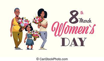 concept, bouquet, célébrer, femme, trois, tenue, longueur, heureux, entiers, mars, 8, caractères, international, horizontal, fleurs, jour, carte, femmes, salutation, américain, africaine, générations