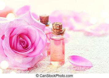 concept, bouteilles, rose, huile, aromatherapy., spa, essentiel