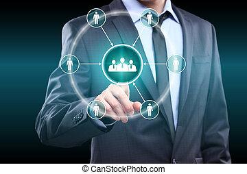 concept, bouton, internet, -, virtuel, business, urgent, équipe, homme affaires, technologie, créer, screens.