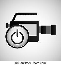 concept, bouton puissance, graphique, production, vidéo