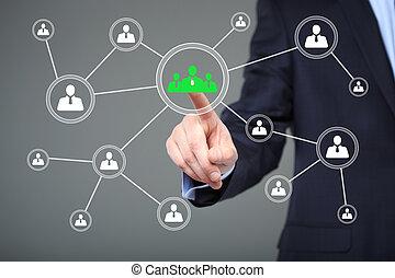 concept, bouton, -, virtuel, écrans, urgent, internet, homme affaires, technologie