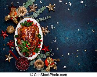 concept, bovenzijde, kerstmis, diner., jaar, nieuw, overzicht., of