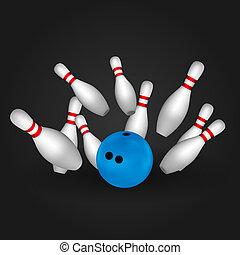 concept., bowling, ciotola, pins.