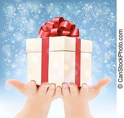 concept, box., vasthouden, schenking verlenend, geschenken., vector, achtergrond, handen, vakantie, kerstmis