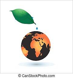 concept, brûlé, soleil, global, warming., planète, earth.