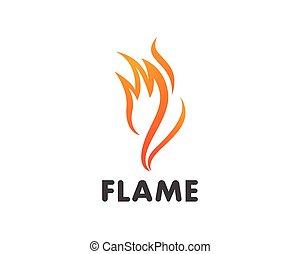 concept, brûler, énergie, essence, huile, vecteur, flamme, gabarit, logo, icône