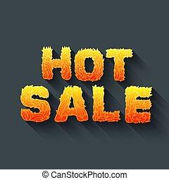 concept, brûler, texte, concept., vente, illustration, chaud, vecteur, conception, fond, rouges
