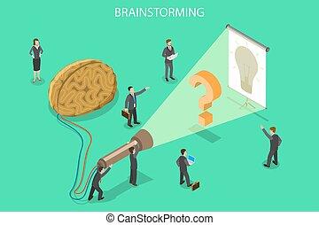 concept., brain-storming, solution, vecteur, innovation, plat, isométrique