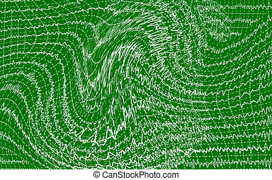 concept brain wave on green backgrounds, textures